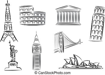 landmarks vector illustrations