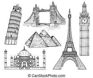 landmarks vector set - Set of famous world landmarks in flat...