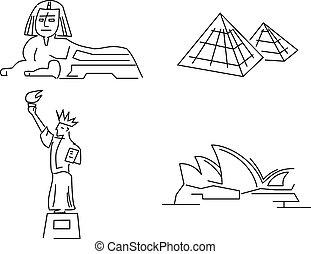 landmarks vector - Statue of Liberty, Sydney Opera House,...