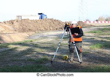 landmeter, bouwterrein