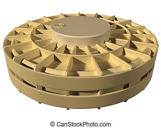 Landmine - Isolated illustration of a desert landmine