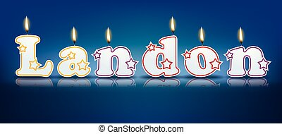LANDON written with burning candles - vector illustration