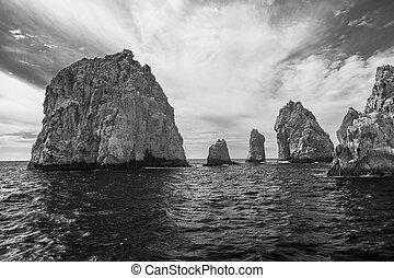 land's, cabo, méxico, sur, formação, rocha, baja califórnia,...