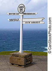 The famous Land's End sign in Cornwall, England.