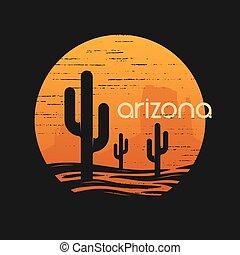Landsape of Arizona state. T-shiert vector design. -...