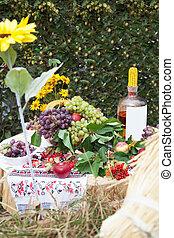landsby, tabel, hos, naturlig, mad drink