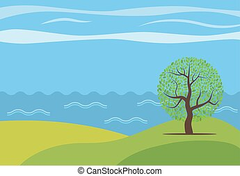 Landscape-05 - Vector panoramic cartoon landscape with the...