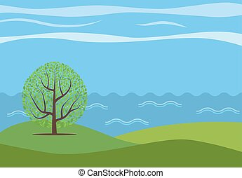 Landscape-06 - Vector panoramic cartoon landscape with the...