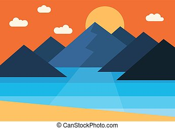 Landscape-07 - Vector panorama of the sunset in the...