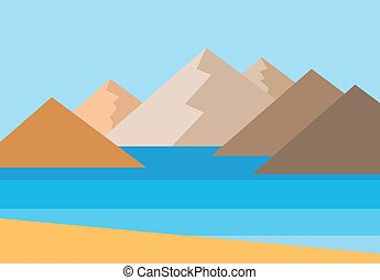 Landscape-08 - Vector panorama of the mountains by the sea