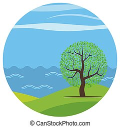 Landscape-16 - Vector cartoon landscape with the lonely tree...