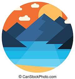 Landscape-18 - Vector sunset in the mountains by the sea in...