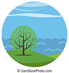 Landscape-21 - Vector landscape with a lonely tree on the...