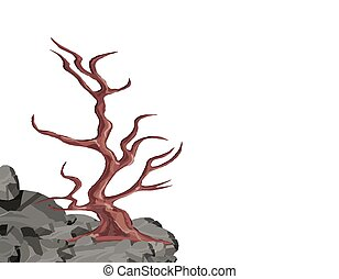 Landscape. A curved tree without leaves on a rock among the stones. Oak, cherry, sakura. illustration