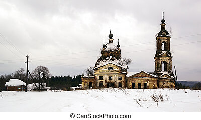 landscape abandoned Orthodox church in winter