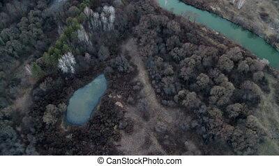 Landscape aerial shot. - Landscape with river and sunset...