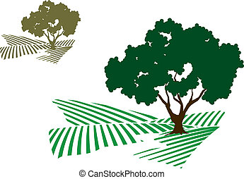 An illustration of a tree next to a stream. The simple design is great for an icon or part of a logo.