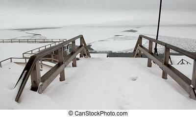Landscape and buildings of Barentsburg on Svalbard -...