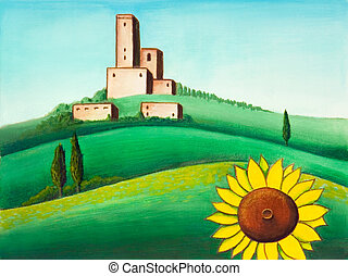 Landscape and sunflower - Picturesque tuscan lanscape. Hand...