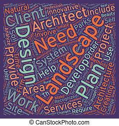 Landscape architects text background wordcloud concept