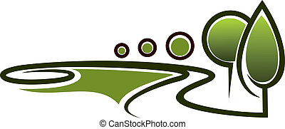 Landscape area symbol - Abstract symbol of a green area, ...