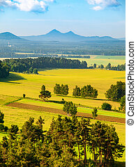 Landscape around Bezdez Castle on sunny summer day. Czech Republic