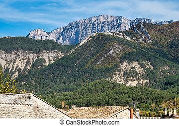 Landscape around Chatillon en Diois village in Vercors Natural Regional Park, Diois, Drome, France