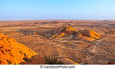 Landscape around Spitzkoppe, aka Spitzkop, with massive granite rock formations, Namib Desert, Namibia, Africa
