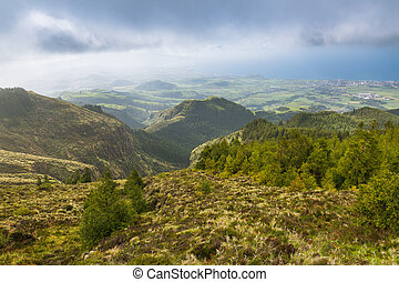 Landscape around the crater of the Pico to Fogo on the island of Sao Miguel