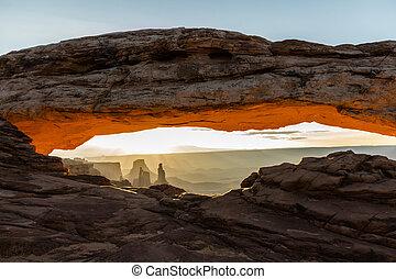 Landscape around the Mesa Arch at sunrise