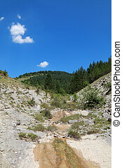 Landscape at Balkan Mountain (Stara Planina) National Park in Serbia Europe, dry creek in summer