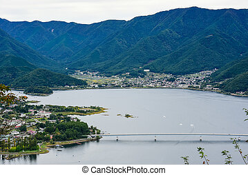 Landscape at kawaguchiko lake of Japan, aerial view