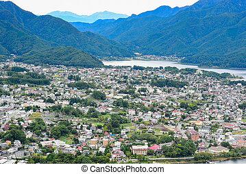 Landscape at kawaguchiko lake of Japan, aerial view