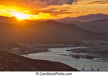 Landscape at sunset in the city of Cartagena, Spain