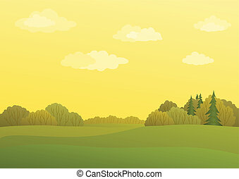 Landscape, autumn day - Autumn landscape with the yellow sky...