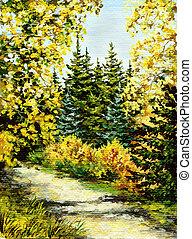 Landscape, autumn wood