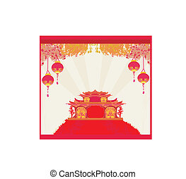 landscape, aziaat, chinese lantaarn