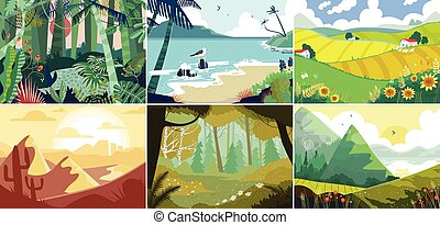 Landscape background, beautiful nature outdoor, forest, mountains and ocean, vector illustration