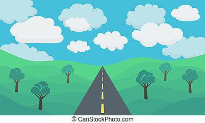 Landscape Background - Asphalt Road on a Background Field...