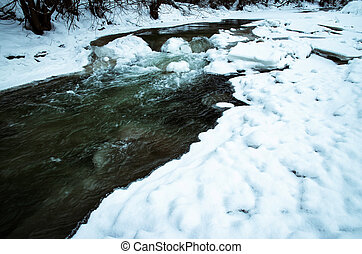 frozen river with a piece of ice