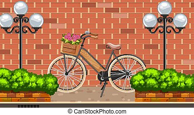 Landscape background with bike on the road