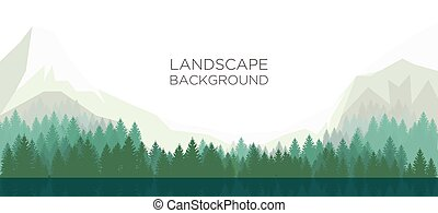 Landscape background with mountain,forest and lake. Vector illustration