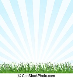 Landscape background with grass and sky. Vector