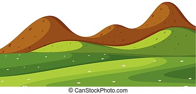 Landscape background with green field and hills