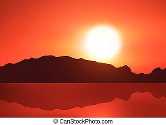 Landscape background with hills against a sunset sky