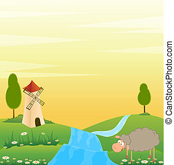 house and cartoon sheep - Landscape background with house...