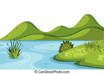 Landscape background with lake and small hills
