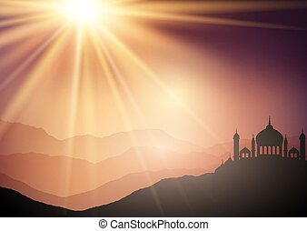 landscape background with mosques against sunset sky 2306