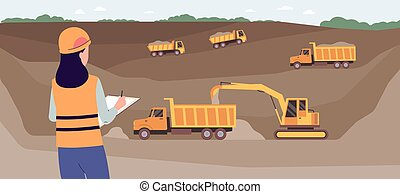 Landscape background with open pit mine and machinery flat vector illustration.