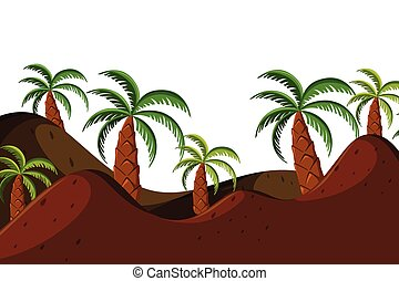 Landscape background with palm trees on hills